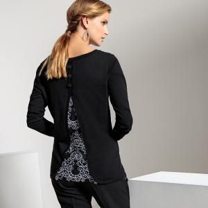 Пуловер оригинальный с кружевом сзади ANNE WEYBURN. Цвет: черный