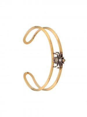 Декорированный браслет-кафф Alexander McQueen. Цвет: золотистый