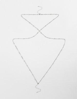 Серебристая цепочка для тела со стразами -Серебристый ASOS DESIGN