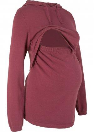 Пуловер с капюшоном для будущих и кормящих мам bonprix. Цвет: красный