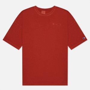 Мужская футболка Script Logo Drop Shoulder Champion Reverse Weave. Цвет: красный
