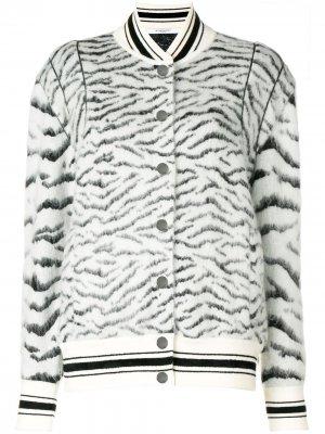 Куртка-бомбер с зебровым принтом Givenchy. Цвет: белый