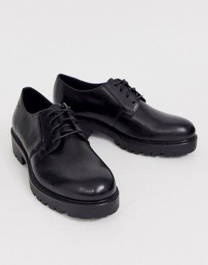 Черные кожаные туфли на плоской подошве со шнуровкой Kenova-Черный Vagabond