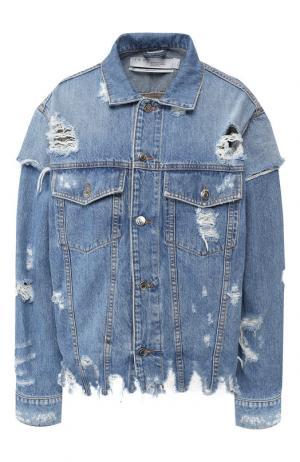 Джинсовая куртка с потертостями Iro. Цвет: синий