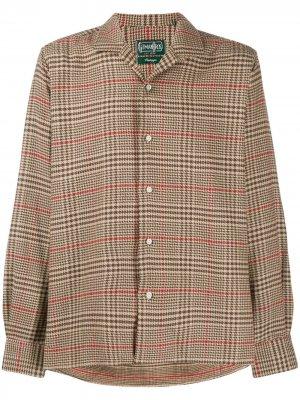 Houndstooth plaid Camp shirt Gitman Vintage. Цвет: коричневый