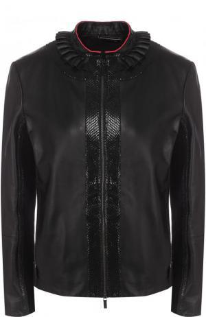 Приталенная кожаная куртка с воротником-стойкой Giorgio Armani. Цвет: чёрный