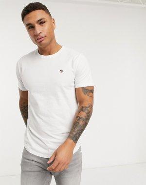 Белая футболка с закругленным краем -Белый Abercrombie & Fitch