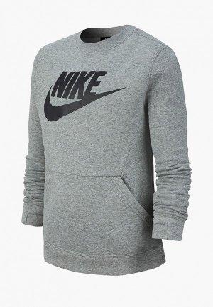 Свитшот Nike SPORTSWEAR CLUB FLEECE BIG KIDS (BOYS) CREW. Цвет: серый