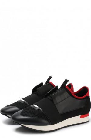 Комбинированные кроссовки Race на шнуровке Balenciaga. Цвет: черный