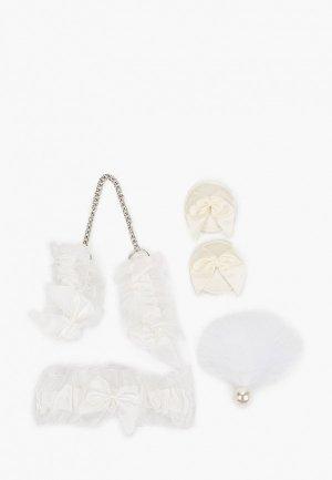 Комплект Bijoux Indiscrets наручники, подвязка, наклейки на грудь, кисточка. Цвет: белый