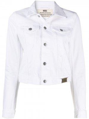 Укороченная джинсовая куртка Diesel. Цвет: белый