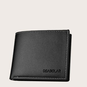 Мужской короткий кошелек с чехлом для карты SHEIN. Цвет: чёрный