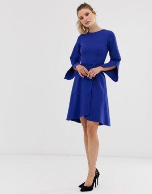 Платье с запахом и длинными рукавами Closet-Синий Closet London