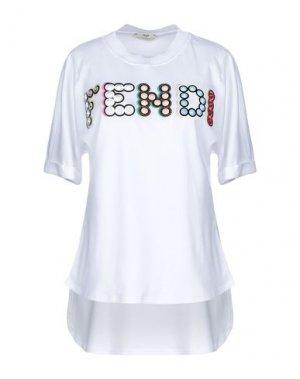 Футболка FENDI. Цвет: белый