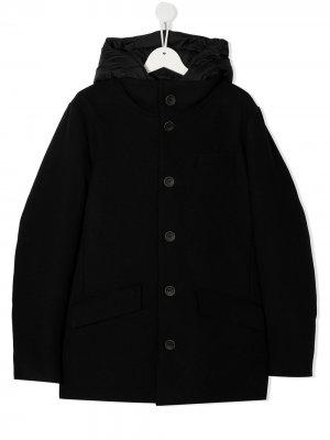 Пальто с капюшоном Herno Kids. Цвет: черный