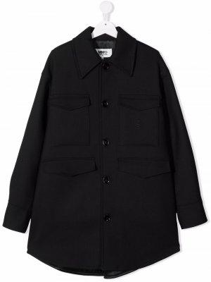 TEEN logo-embroidered shirt jacket MM6 KIDS. Цвет: черный