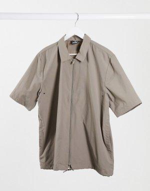 Коричневая рубашка на сквозной молнии -Коричневый Hummel