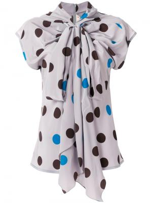 Блузка с бантом на шее Marni. Цвет: серый