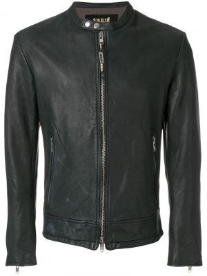 Кожаная куртка в стиле casual S.W.O.R.D 6.6.44. Цвет: синий