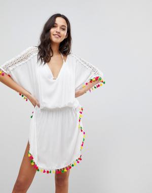 Пляжное платье с кисточками Anmol. Цвет: белый
