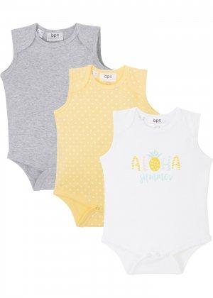Боди для малыша из биохлопка (3 шт.) bonprix. Цвет: серый