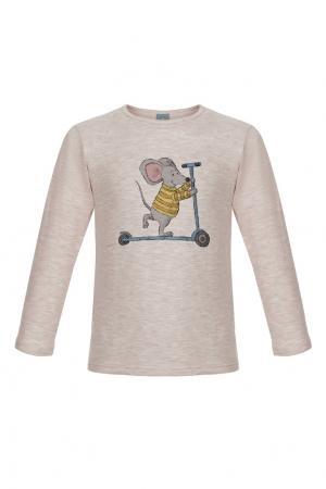 Бежевый лонгслив «Мышонок на самокате» LISA&LEO. Цвет: бежевый