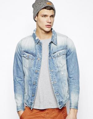 Зауженная джинсовая куртка G-Star. Цвет: синий