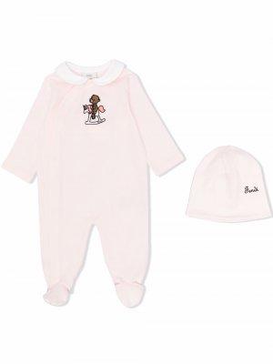 Пижама с принтом Fendi Kids. Цвет: розовый
