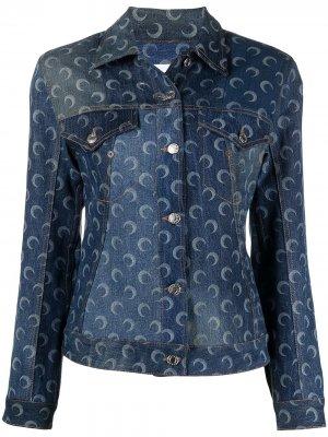 Джинсовая куртка с принтом Moon Marine Serre. Цвет: синий