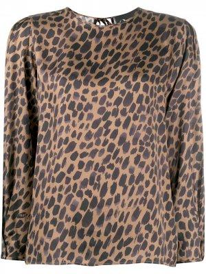 Блузка с леопардовым принтом 8pm. Цвет: коричневый