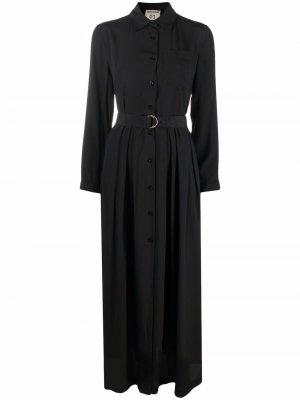 Платье-рубашка длины макси с поясом Semicouture. Цвет: черный