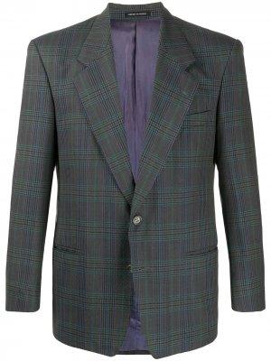 Однобортный пиджак в клетку Yves Saint Laurent Pre-Owned. Цвет: серый