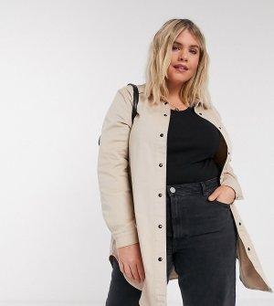 Бежевая джинсовая куртка-рубашка -Бежевый Vero Moda Curve