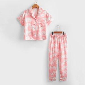 Для девочек Пижама из атласа цветочным рисунком SHEIN. Цвет: нежний розовый
