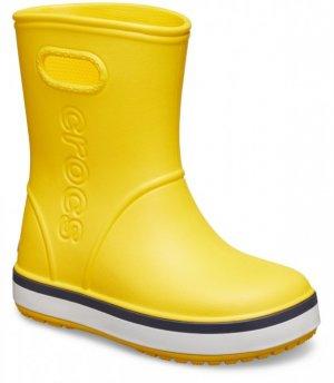 Резиновые сапоги детские CROCS Kids' Crocband™ Rain Boot Yellow/Navy арт. 205827. Цвет: yellow/navy