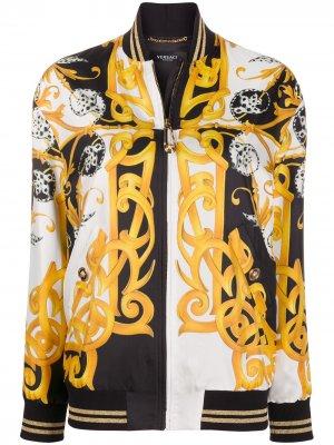 Куртка-бомбер с логотипом Versace. Цвет: черный