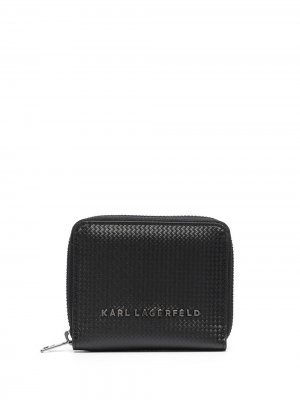 Плетеный кошелек с логотипом Karl Lagerfeld. Цвет: черный