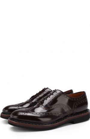 Кожаные оксфорды на шнуровке с брогированием Premiata. Цвет: бордовый