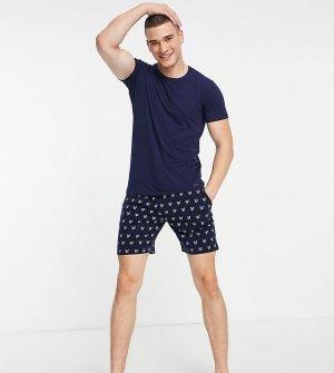 Домашний комплект темно-синего цвета из футболки с большим логотипом на спине и шорт со сплошным принтом Campbell-Темно-синий Lyle & Scott Bodywear