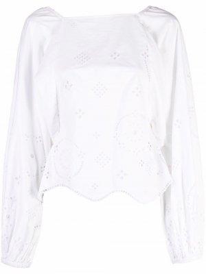Embroidered organic-cotton blouse GANNI. Цвет: белый