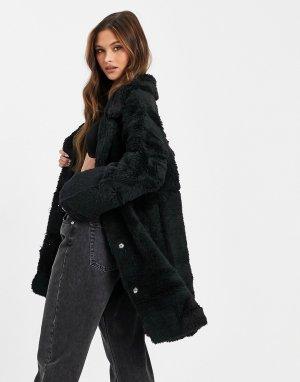 Черное двустороннее пальто из искусственного меха -Черный Jayley