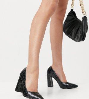 Эксклюзивные черные туфли на блочном каблуке с эффектом крокодиловой кожи для широкой стопы -Черный цвет Glamorous Wide Fit