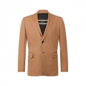Шерстяной пиджак Brioni. Цвет: бежевый