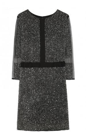 Приталенное мини-платье с укороченными рукавами Basix Black Label. Цвет: серебряный