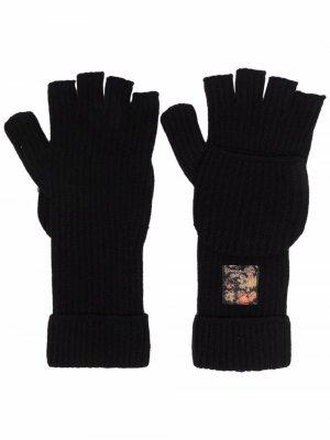 Перчатки-митенки Emporio Armani. Цвет: черный