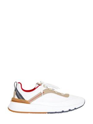 Ультралегкие кроссовки из телячьей кожи и ткани Honeycomb BRUNELLO CUCINELLI. Цвет: белый