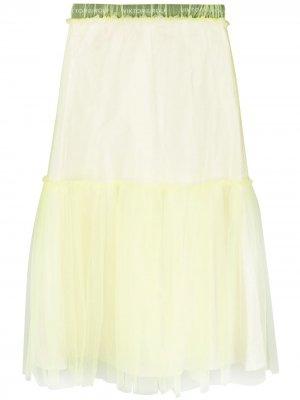 Мини-юбка с наружными швами и вставкой из тюля Viktor & Rolf. Цвет: желтый