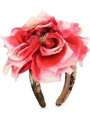 Жаккардовый ободок с цветочной отделкой Dolce & Gabbana. Цвет: красный