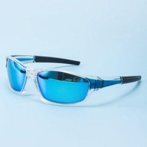 Мужские поляризованные солнцезащитные очки для велосипедов SHEIN. Цвет: ярко-синий