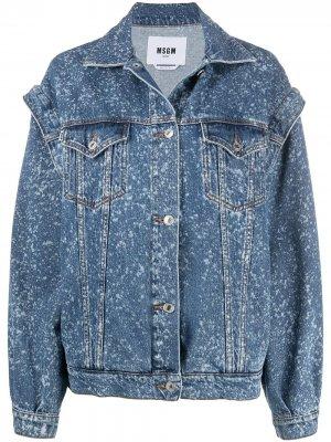 Джинсовая куртка с эффектом разбрызганной краски MSGM. Цвет: синий